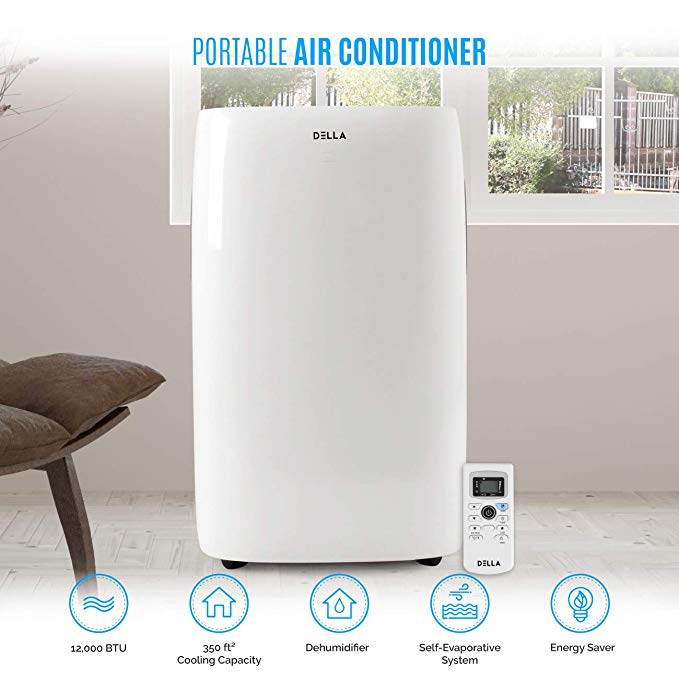 DELLA 12,000 BTU Portable Air Conditioner Unit Quiet AC Unit Dehumidifier Freestanding Remote Control w/Window Kit, White