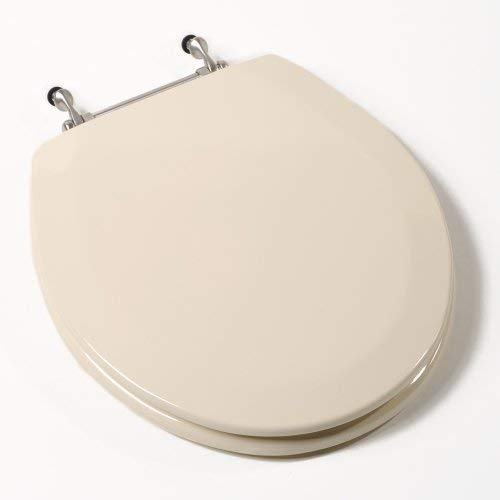 Comfort Seats C1B4R2-01BN Deluxe Molded Wood Toilet Seat with Brushed Nickel Hinges, Round, Bone by Comfort Seats