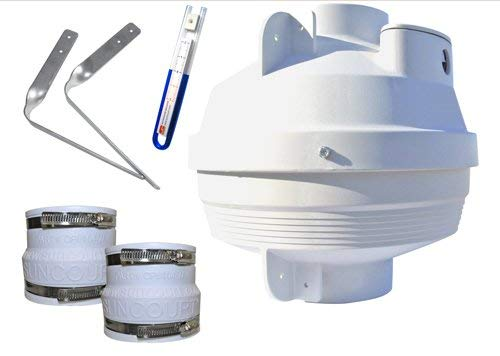 Suncourt Radon Mitigation Fan Kit 4 In. Fan with 4 In. To 4 In. Couplers and Air Pressure Indicator