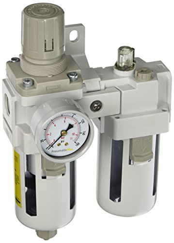 PneumaticPlus SAU4010M-N04BG Two Piece Filter Regulator Lubricator Combination 1/2