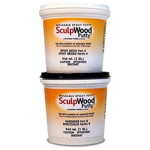 System Three 1600K20 Brown SculpWood Putty Kit, 0.5 gal Tubs by System Three