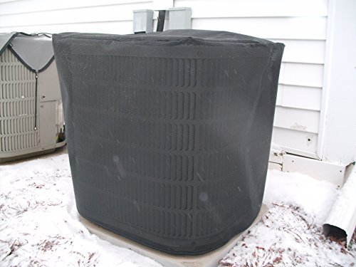 HeavyDuty Beathable Tight Mesh Winter Full Air Conditioner Cover - 28x28x28Ht - Black