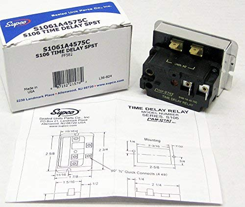 SUPCO S106-1A-45-75C Spst Time Delay Relay, 35 to 55 seconds on Time Delay, 50 to 100 seconds Off Time Delay