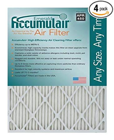 Accumulair Emerald 20x22.25x4 (Actual Size) MERV 6 Air Filter/Furnace Filters (4 pack)