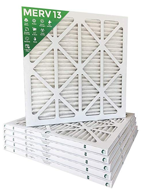 25x25x1 MERV 13 (MPR 2200) Pleated AC Furnace Air Filters. Box of 6