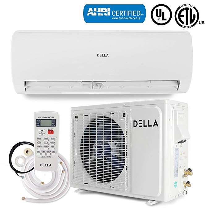 DELLA 12,000 BTU 230V Mini Split AC Ductless Wall Mounted Air Conditioner Inverter w/Heat Pump System Full Set (17 SEER) AHRI Certificate