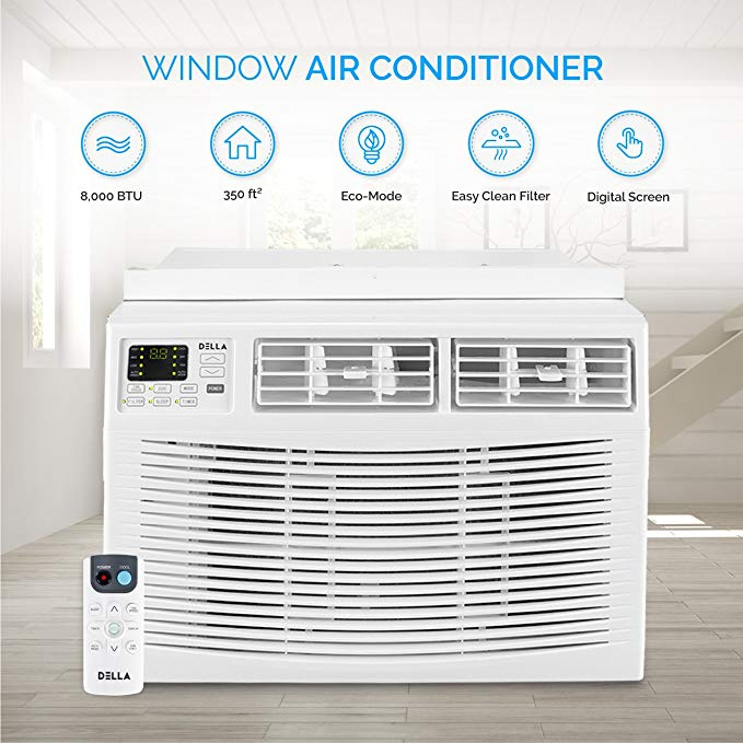DELLA Window Mounted 8,000 BTU Mini Air Conditioner 115V AC Remote Control (Up to 350 SQ FT) Energy Star, White