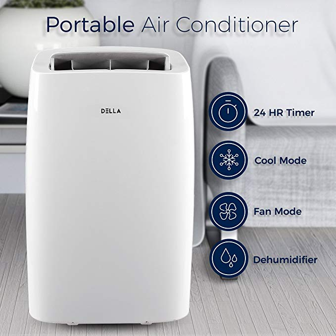 DELLA 12,000 BTU Cooling Portable Air Conditioner Quiet Cool Fan Dehumidifier LCD Remote Control Window Vent Kit, White