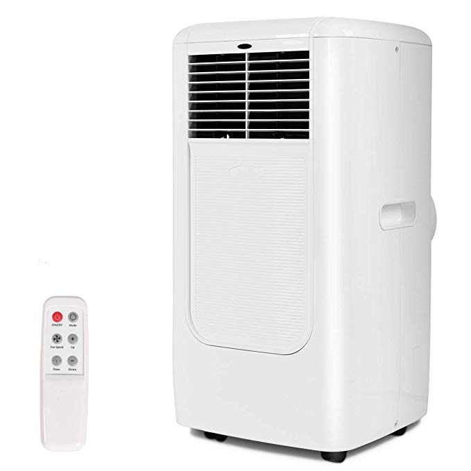 COSTWAY 10,000 BTU Portable Air Conditioner with Remote Control Dehumidifier Timer Function Window Mount (White 27.5