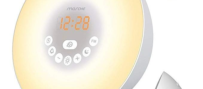 MOSCHE Sunrise Alarm Clock, Wake Up Light with 6 Nature Sounds, FM Radio, color Light, Bedside Sunrise Simulator (New-Silver) Review