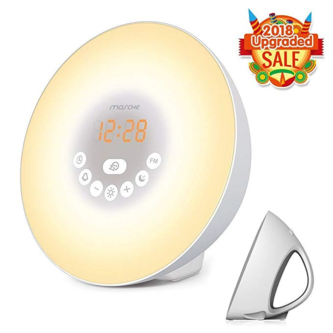 MOSCHE Sunrise Alarm Clock, Wake Up Light with 6 Nature Sounds, FM Radio, color Light, Bedside Sunrise Simulator (New-Silver)